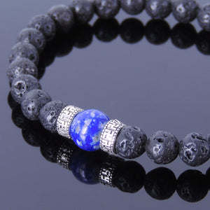 Lapis Lazuli & Lava Rock Healing Gemstone Bracelet with S925 Sterling Silver Buddhism Spacer Beads - Handmade by Gem & Silver BR375