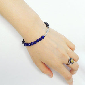 6mm Matte Black Onyx & Lapis Lazuli Healing Gemstone Bracelet with S925 Sterling Silver Spacer Beads & Clasp - Handmade by Gem & Silver BR203