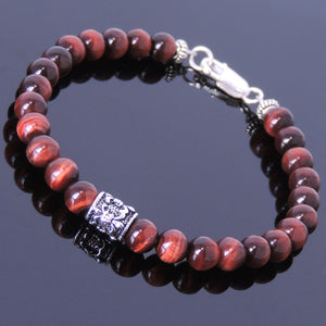 6mm Red Tiger Eye Healing Gemstone Bracelet with S925 Sterling Silver Fleur de Lis Barrel Bead & Clasp - Handmade by Gem & Silver BR391