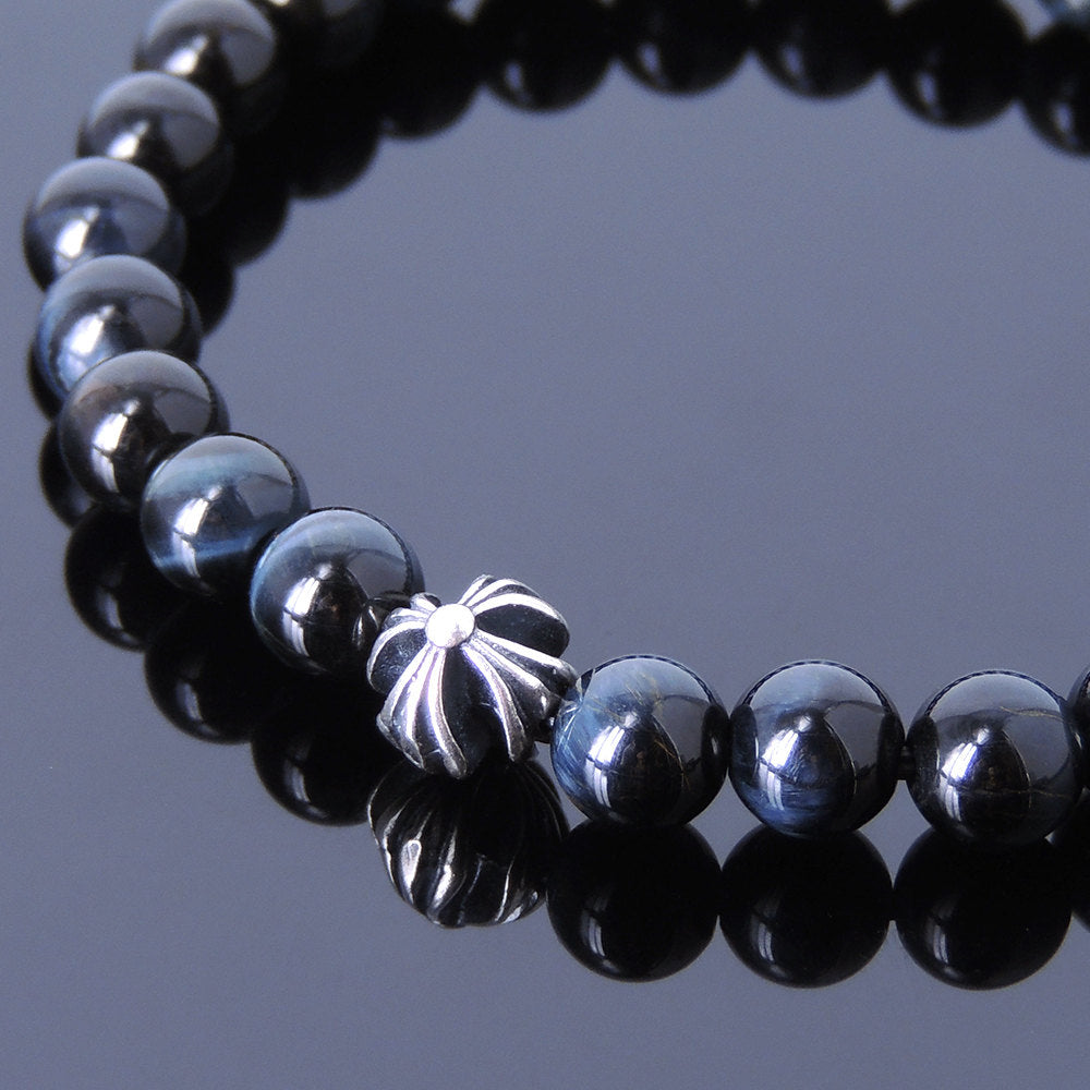 6mm Blue Tiger Eye Healing Gemstone Bracelet with S925 Sterling Silver Cross Bead - Handmade by Gem & Silver BR396