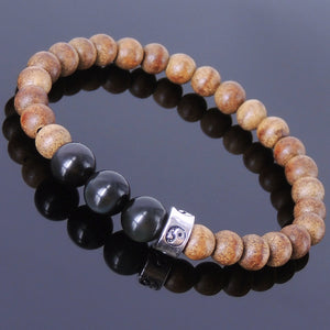 Rainbow Black Obsidian & Agarwood Mala Bracelet for Prayer & Meditation with S925 Sterling Silver Ying Yang Taiji Bead - Handmade by Gem & Silver BR214