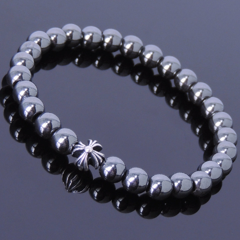 6mm Hematite Healing Gemstone Bracelet with S925 Sterling Silver Cross Bead - Handmade by Gem & Silver BR400