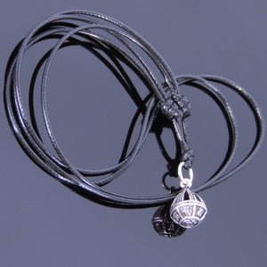 Adjustable Wax Rope Necklace with S925 Sterling Silver OM Meditation Crown Pendant - Handmade by Gem & Silver NK007