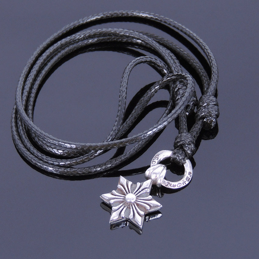 Adjustable Wax Rope Necklace with S925 Sterling Silver Celtic Protection Star Pendant - Handmade by Gem & Silver NK004