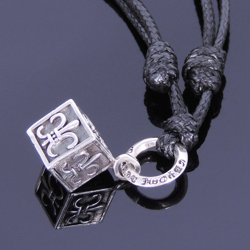 Adjustable Wax Rope Necklace with S925 Sterling Silver Vintage Fleur de Lis Cube Pendant - Handmade by Gem & Silver NK005