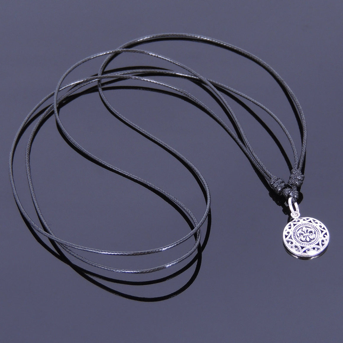 Adjustable Wax Rope Necklace with S925 Sterling Silver Fleur De Lis Mandala Pendant - Handmade by Gem & Silver NK008