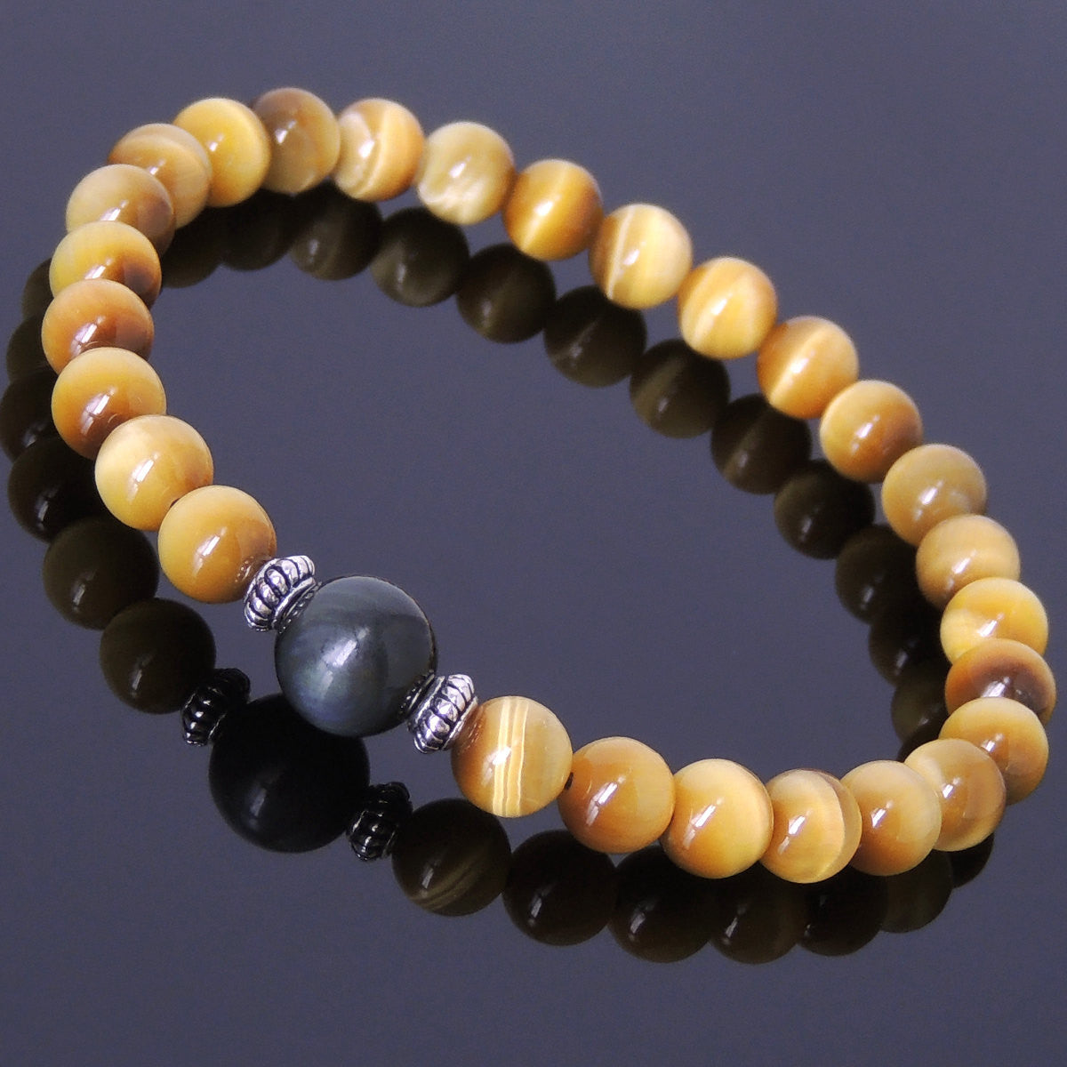 Meditation Chakra Healing Protection Crystals Tai Chi Golden Tiger Eye & Rainbow Black Obsidian Healing Gemstone Bracelet with S925 Sterling Silver Spacer Beads - Handmade by Gem & Silver BR413