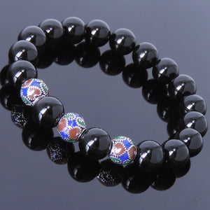 10mm Bright Black Onyx Healing Gemstone Bracelet with S925 Sterling Silver Vintage Nepalese Hand-painted Beads - Handmade by Gem & Silver BR022