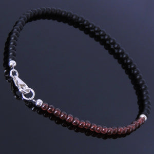 Natural Garnet and Matte Black Onyx Anklet with S925 Sterling Silver Clasp & Spacer - Handmade by Gem & Silver AN003