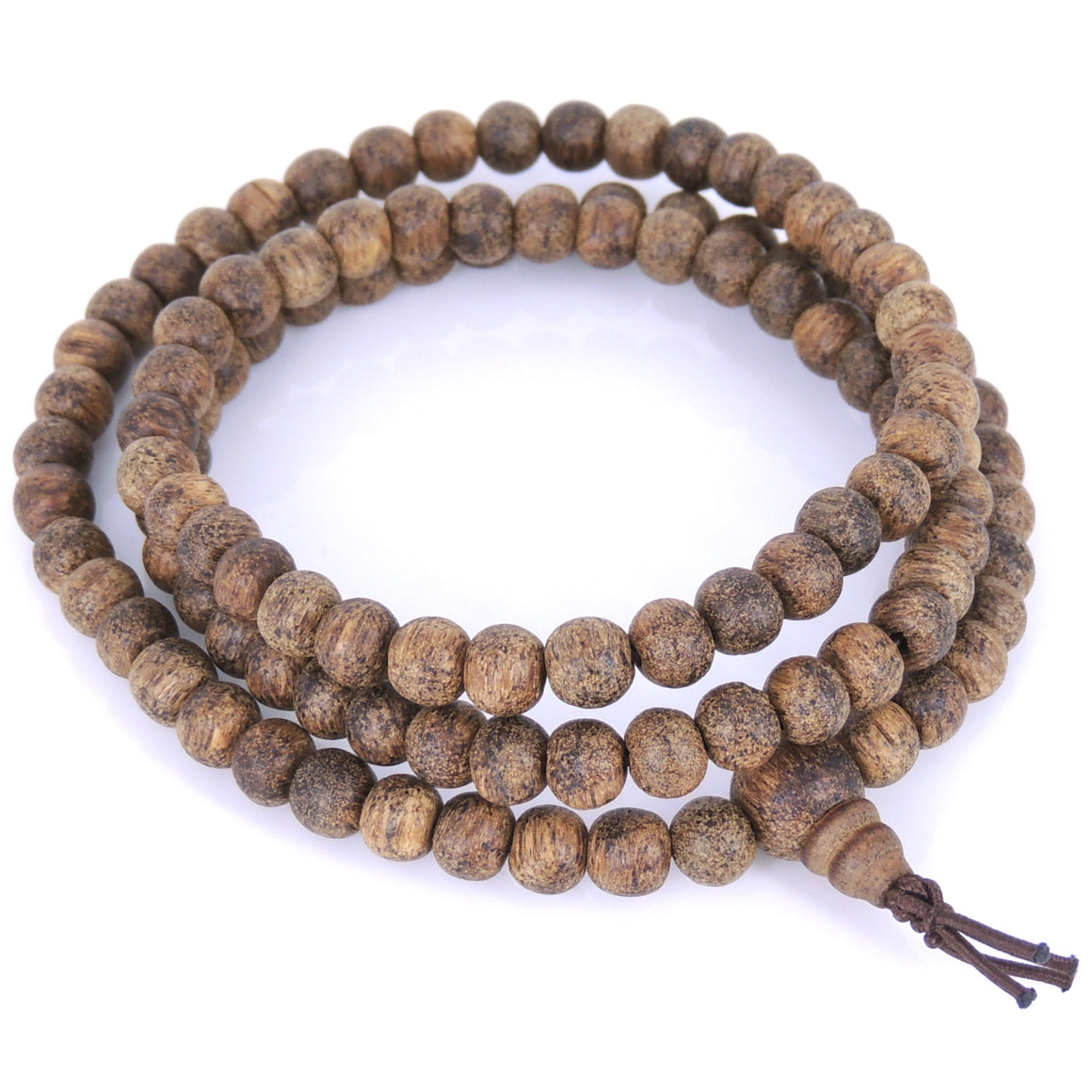 6.5mm Golden Vietnamese Agarwood Bracelet/Necklace 108 Beads for Meditation - Gem & Silver AW008