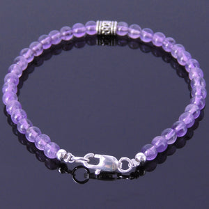 4mm Amethyst Healing Gemstone Anklet with S925 Sterling Silver Artisan Barrel Bead & Clasp - Handmade by Gem & Silver AN014