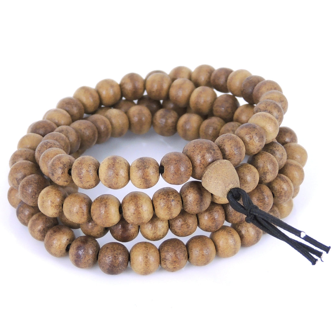 6.5mm Vietnamese Agarwood Bracelet/Necklace 108 Beads for Meditation - Gem & Silver AW003