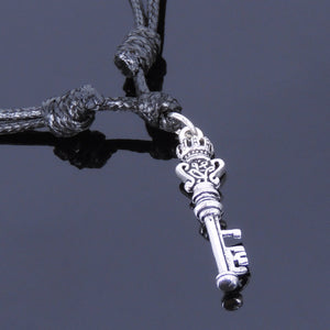 Adjustable Wax Rope Necklace with S925 Sterling Silver Vintage Crown Key Pendant - Handmade by Gem & Silver NK013