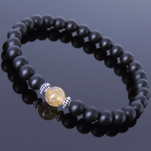 Golden Rutilated Quartz & Matte Black Onyx Healing Gemstone Bracelet with S925 Sterling Silver Spacers - Handmade by Gem & Silver BR420