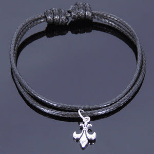 Adjustable Wax Rope Bracelet with S925 Sterling Silver Fleur de Lis Pendant - Handmade by Gem & Silver BR416