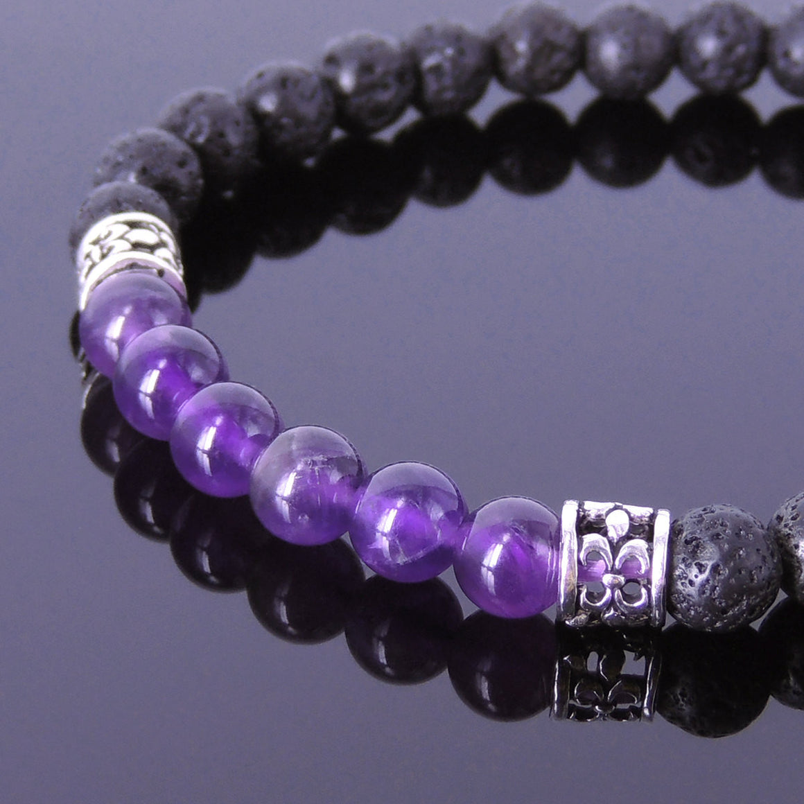 Meditation Tai Chi Healing Chakra Crystals 6mm Grade AA Amethyst & Lava Rock Healing Gemstone Bracelet with Sterling Silver Fleur de Lis Charm Spacers - Handmade by Gem & Silver BR424