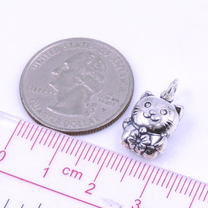 2 PCS Lucky Cat with Flower Pendants - S925 Sterling Silver WSP250AX2