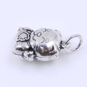 2 PCS Vintage Lucky Cat Protection Pendants - S925 Sterling Silver WSP250Dx2