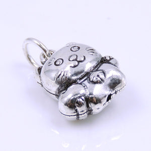 2 PCS Lucky Cat with Heart Pendants - S925 Sterling Silver WSP250BX2