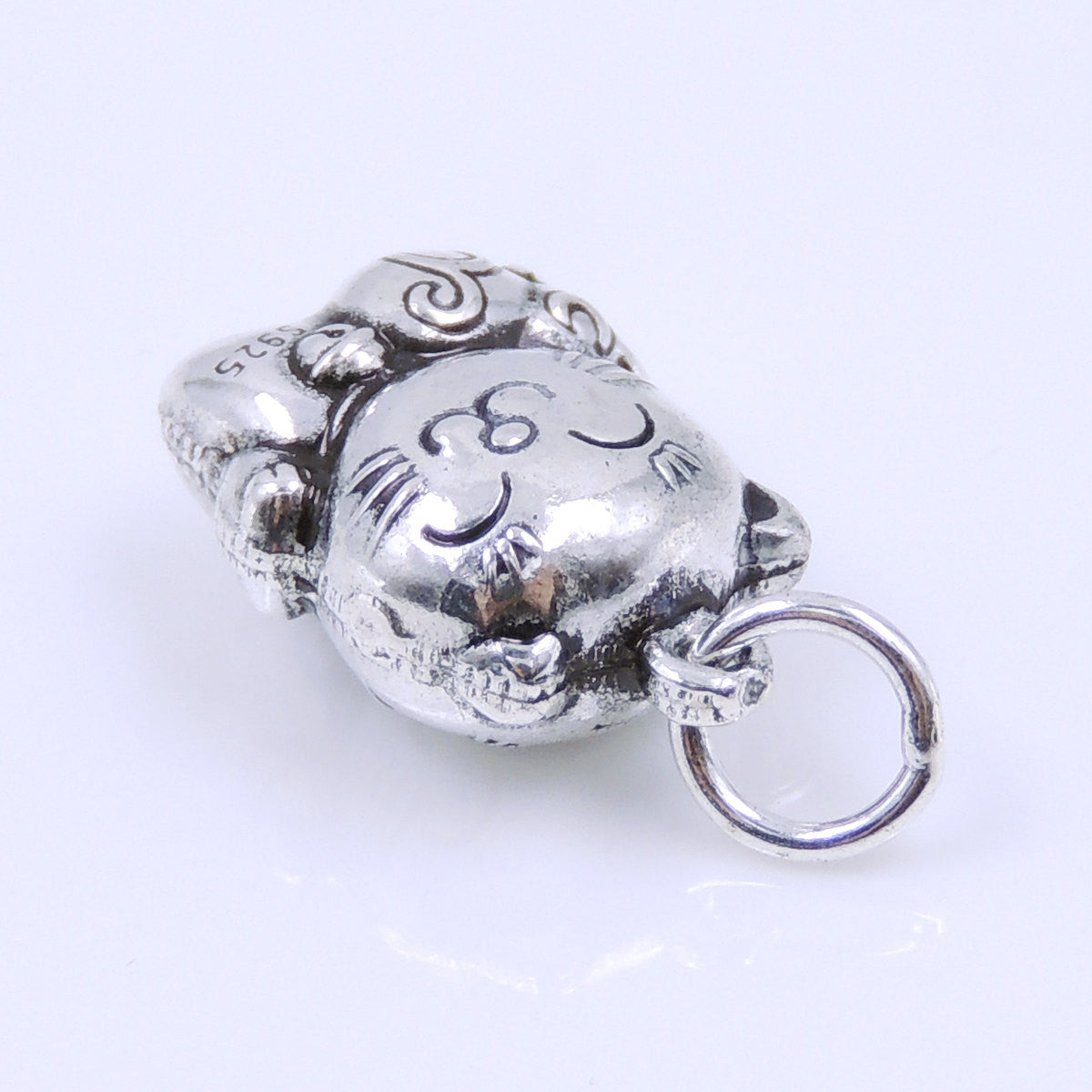 2 PCS Lucky Cat Pendants with Hulu Gourd Protection Plant - S925 Sterling Silver WSP250Ex2