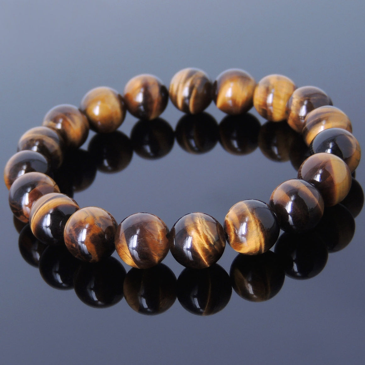 10mm Brown Tiger Eye Healing Gemstone Bracelet - Handmade by Gem & Silver BR444