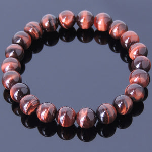 8mm Red Tiger Eye Healing Gemstone Bracelet - Handmade by Gem & Silver BR441E
