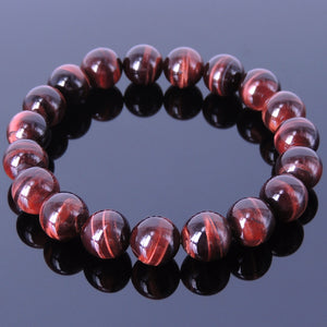 12mm Red Tiger Eye Healing Gemstone Bracelet - Handmade by Gem & Silver BR057