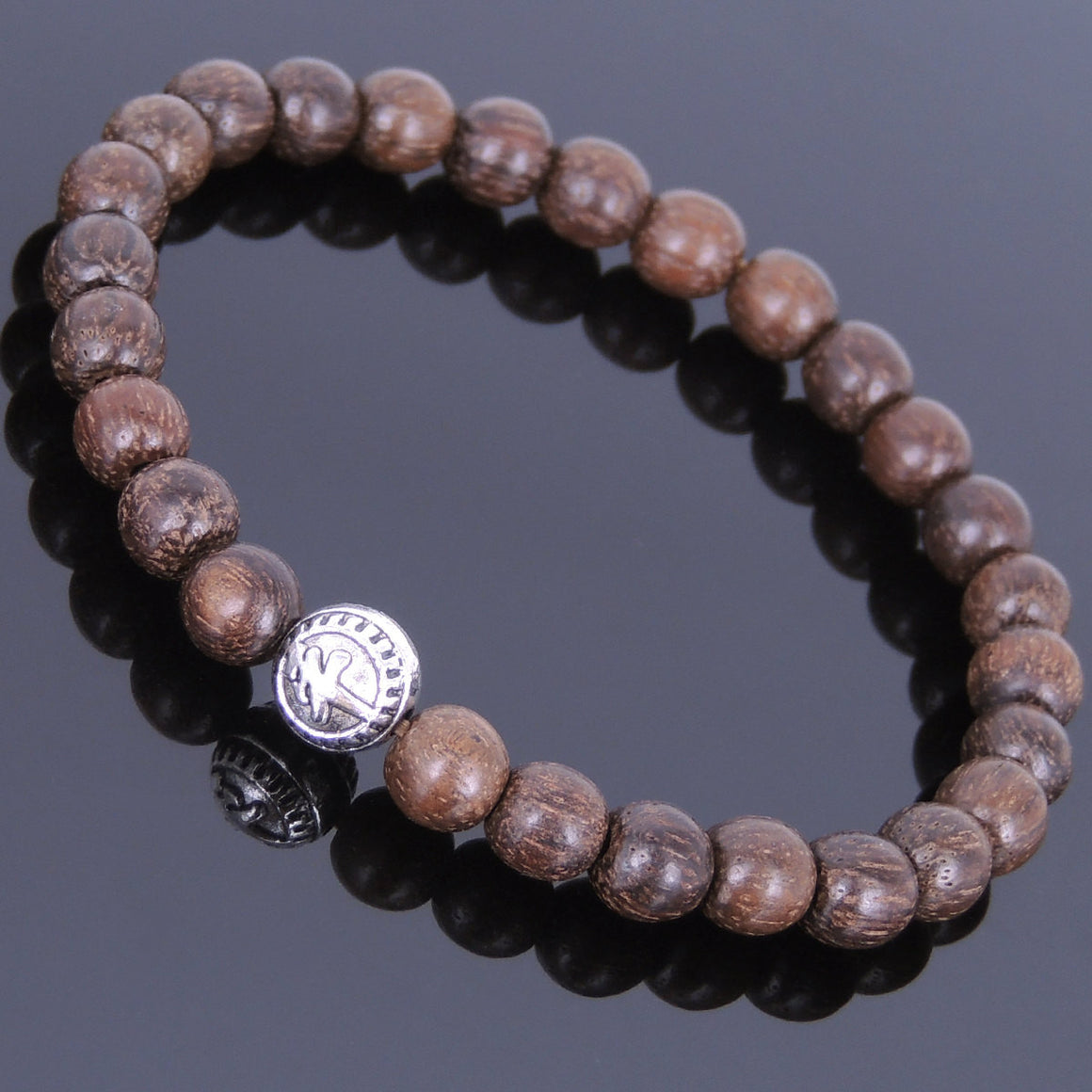 "6.5mm Red Vietnam Agarwood Bracelet for Prayer & Meditation with Protection ""Ping An"" Bead - Handmade by Gem & Silver AWB004"