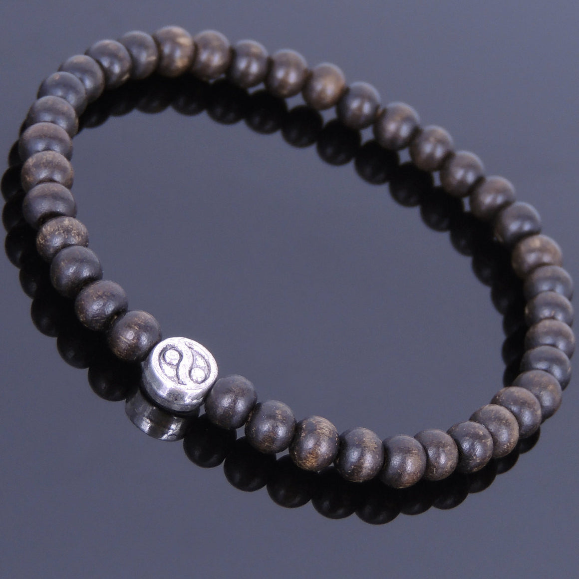 Mala Agarwood Bracelet for Prayer & Meditation with Tibetan Silver Ying Yang Taiji Mala Bead - Handmade by Gem & Silver AWB010
