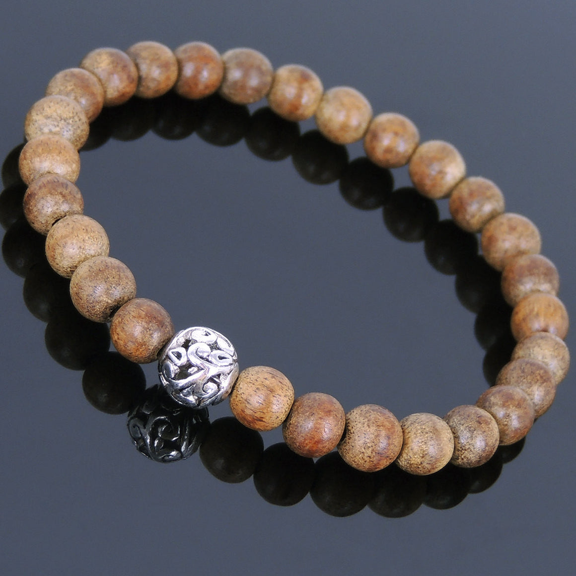Meditation Agarwood Bracelet with Tibetan Silver Meditation Bead - Handmade by Gem & Silver AWB013