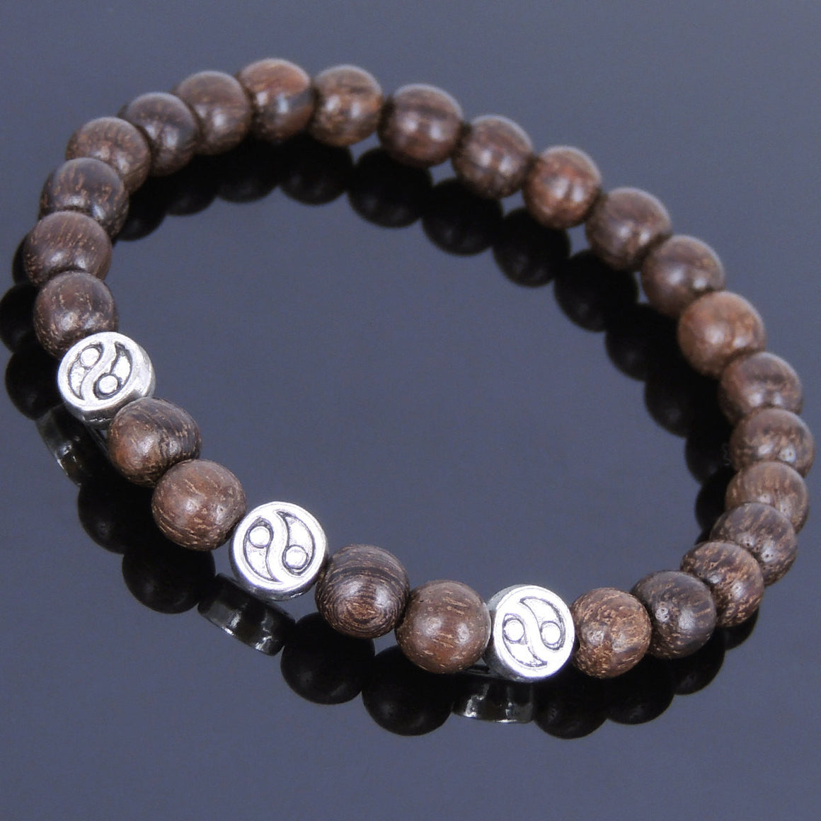 6.5mm Red Vietnam Agarwood Bracelet for Prayer & Meditation with Tibetan Silver Ying Yang Taiji Balance Beads - Handmade by Gem & Silver AWB022