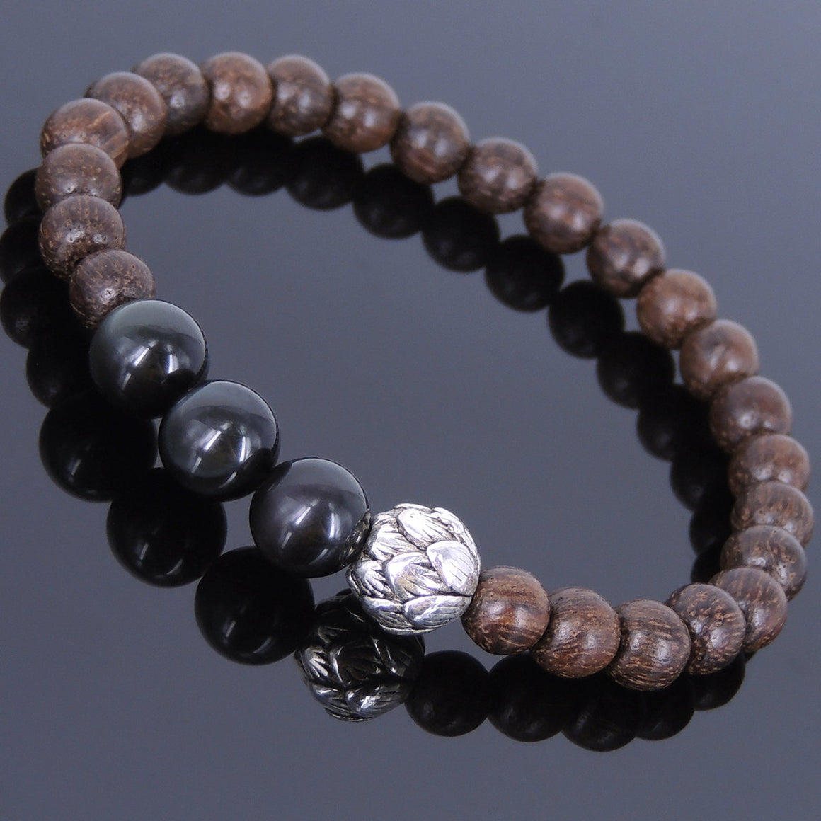 Rainbow Black Obsidian & Red Agarwood Bracelet for Prayer & Meditation with Tibetan Silver Lotus Protection Bead - Handmade by Gem & Silver AWB037