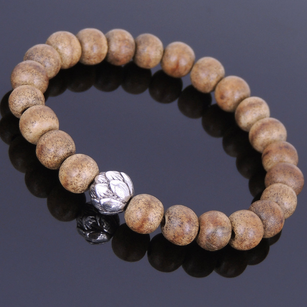 8mm Vietnam Agarwood Bracelet for Prayer & Meditation with Tibetan Silver Lotus Protection Bead - Handmade by Gem & Silver AWB002