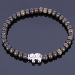 5mm Red Vietnamese Agarwood Bracelet for Prayer & Meditation with Tibetan Silver Vintage Elephant Bead - Handmade by Gem & Silver AWB009