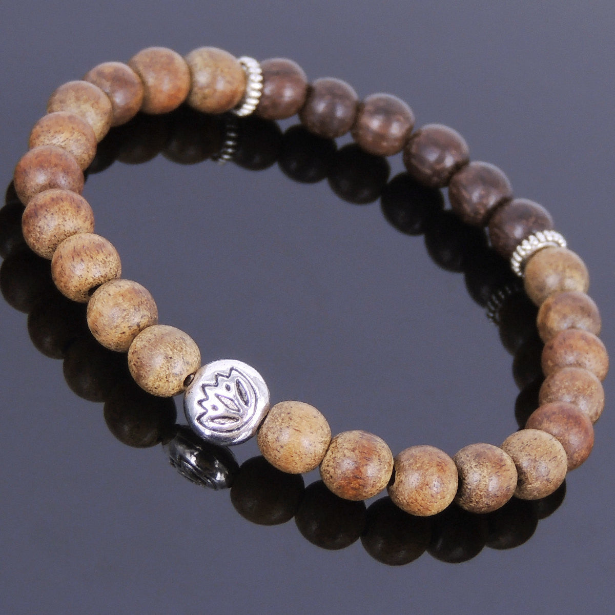 6.5mm Red Agarwood & White Sand Agarwood Healing Mala Bracelet with Tibetan Silver Lotus Bead & Spacers - Handmade by Gem & Silver AWB025