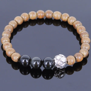Rainbow Black Obsidian & Agarwood Bracelet for Prayer & Meditation with Tibetan Silver Lotus Protection Bead - Handmade by Gem & Silver AWB028