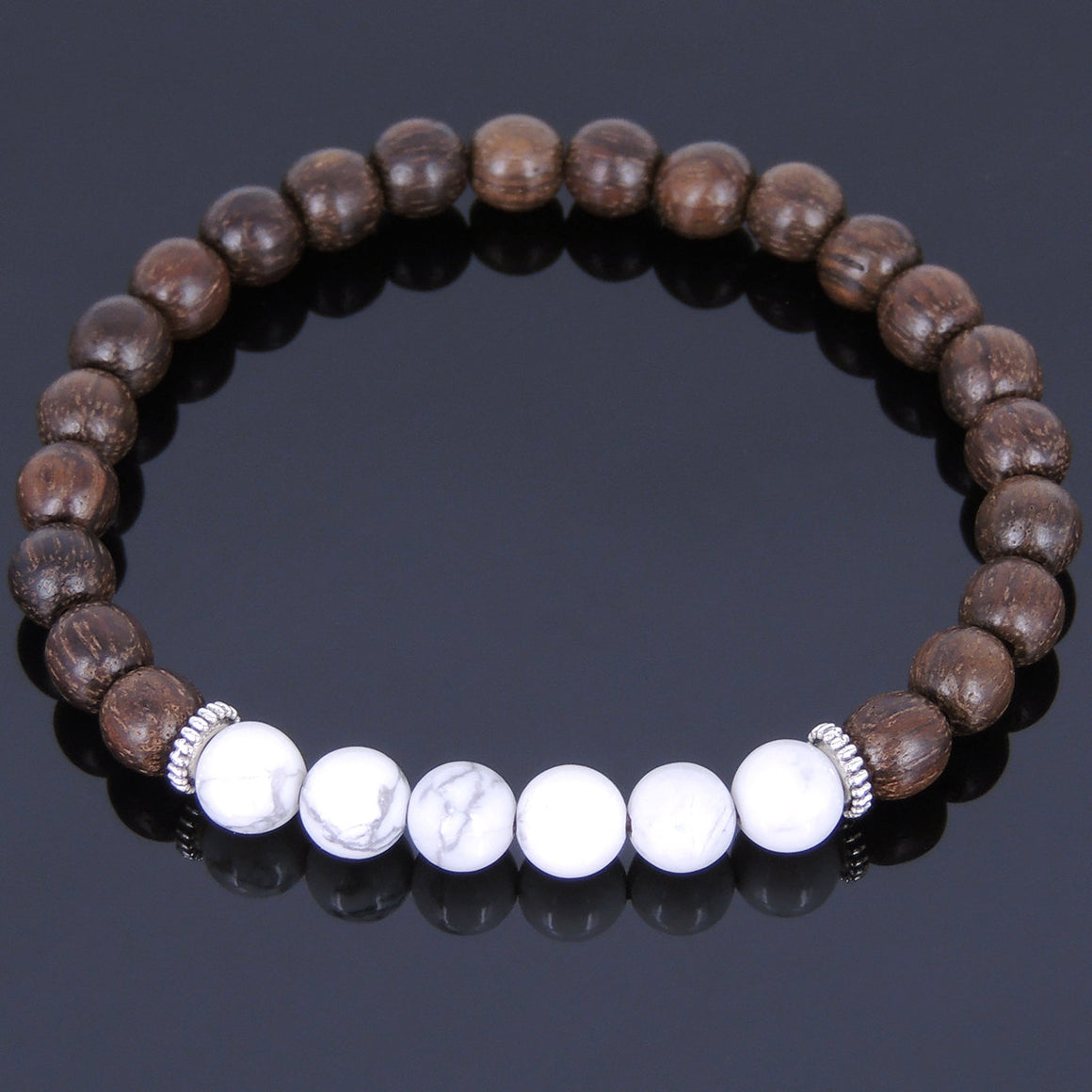 Red Agarwood & White Howlite Healing Gemstone Bracelet with Tibetan Silver Spacers - Handmade by Gem & Silver AWB017