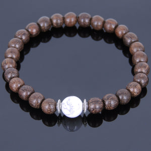 Red Agarwood & White Howlite Healing Gemstone Bracelet with Tibetan Silver Spacers - Handmade by Gem & Silver AWB018
