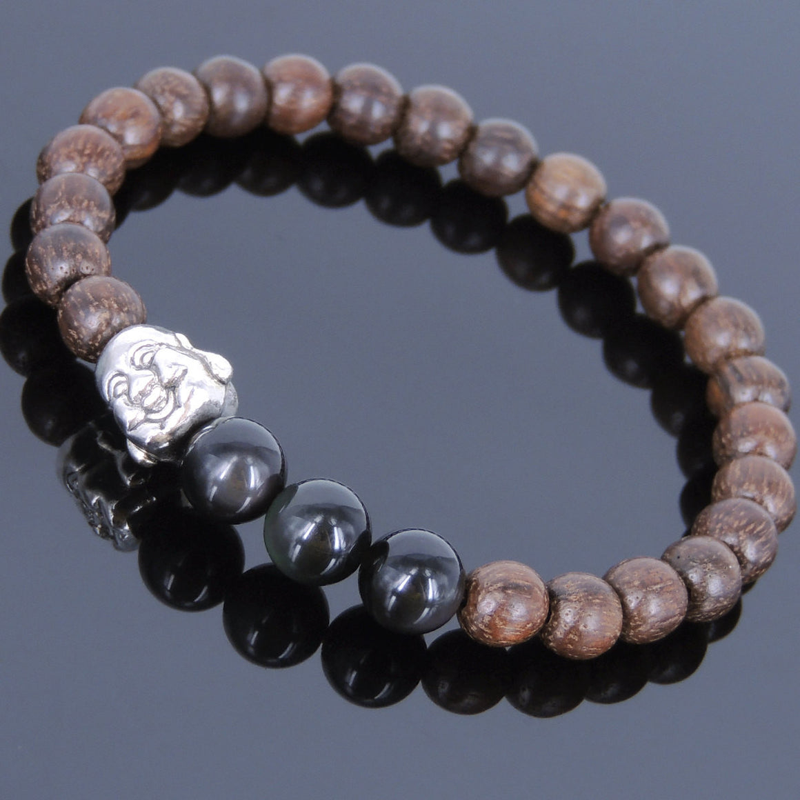Meditation Red Agarwood & Black Obsidian Gemstone Bracelet with Tibetan Silver Smiling Buddha Meditation Mala Bead - Handmade by Gem & Silver AWB042