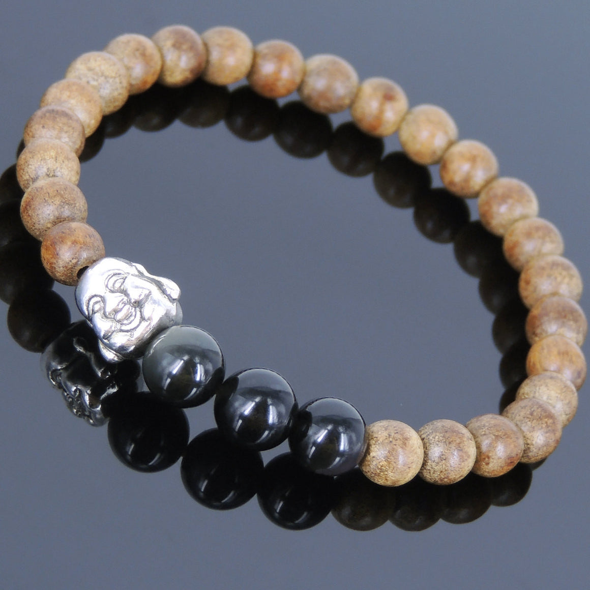 Meditation Agarwood & Black Obsidian Gemstone Bracelet with Tibetan Silver Smiling Buddha Bead - Handmade by Gem & Silver AWB044