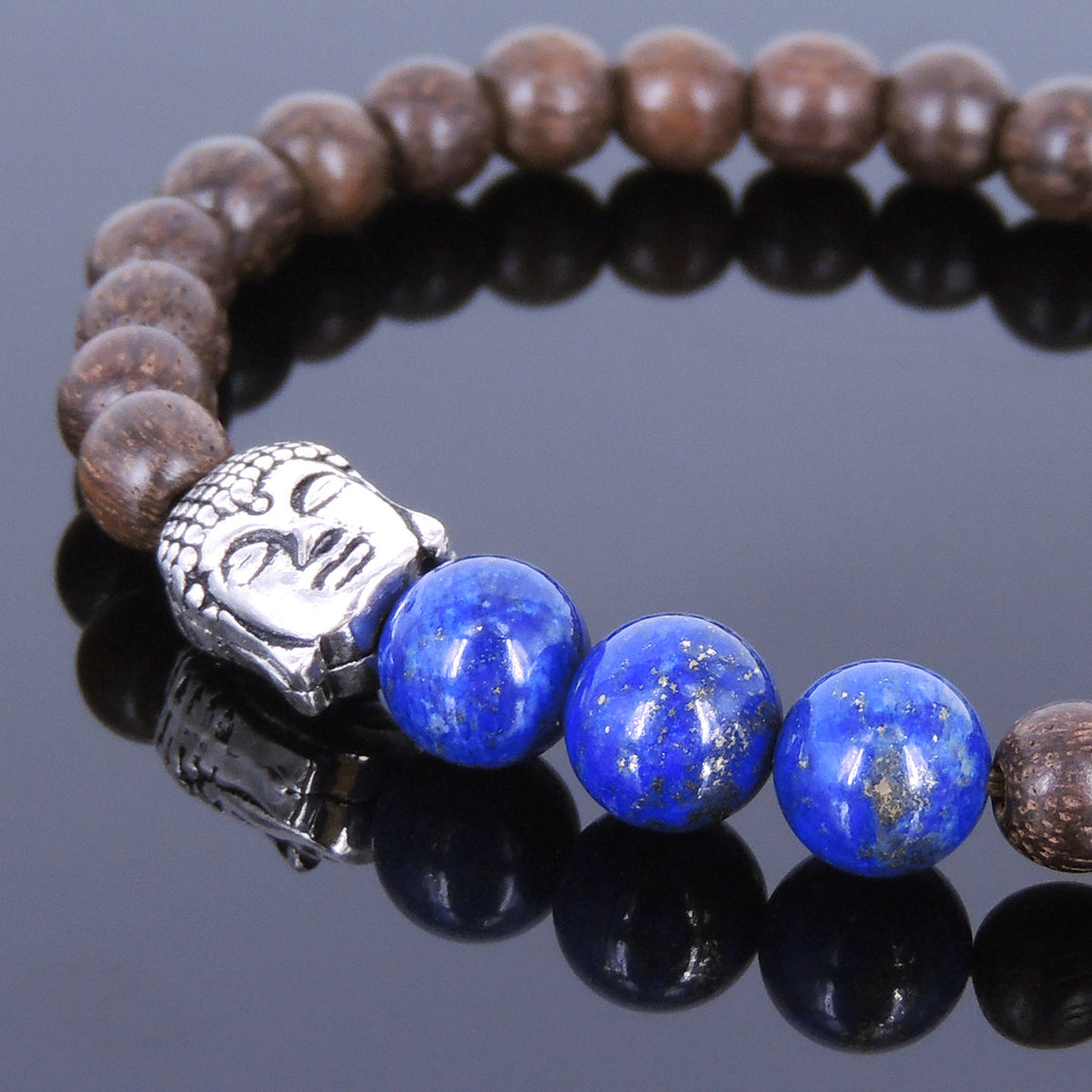 Red Agarwood & Lapis Lazuli Meditation Bracelet with S925 Sterling Silver Guanyin Buddha Bead - Handmade by Gem & Silver BR438