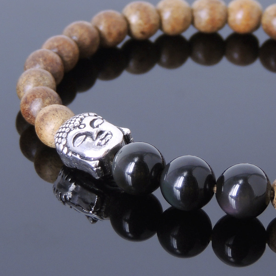Agarwood & Rainbow Black Obsidian Meditation Bracelet with S925 Sterling Silver Guanyin Buddha Bead - Handmade by Gem & Silver BR439