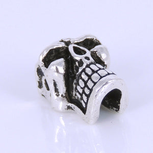 1 PC Vintage Skull Bead - S925 Sterling Silver WSP277X1