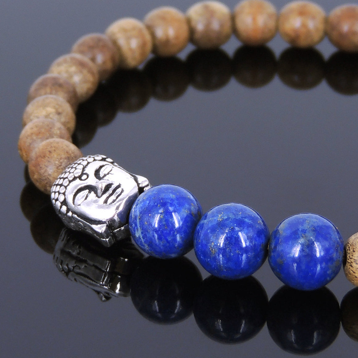 Agarwood & Lapis Lazuli Meditation Bracelet with S925 Sterling Silver Guanyin Buddha Bead - Handmade by Gem & Silver BR437
