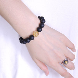 Golden Rutilated Quartz & Matte Black Onyx Healing Gemstone Bracelet - Handmade by Gem & Silver BR458