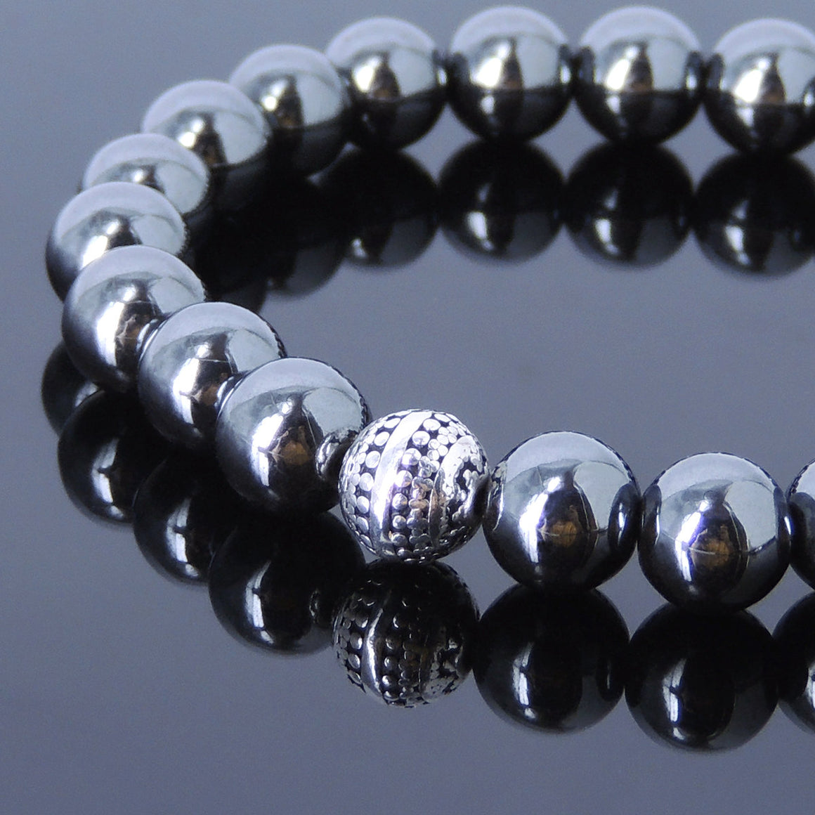 8mm Hematite Healing Gemstone Bracelet with S925 Sterling Silver Artisan Bead - Handmade by Gem & Silver BR457
