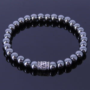 6mm Hematite Healing Gemstone Bracelet with S925 Sterling Silver Marcasite Buddhism Barrel Bead - Handmade by Gem & Silver BR136E