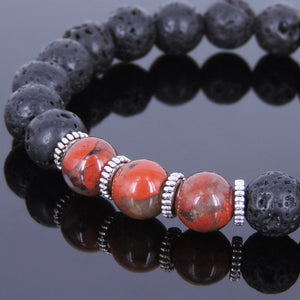 8mm Red Jasper & Lava Rock Healing Stone Bracelet with Tibetan Silver Spacers - Handmade by Gem & Silver TSB005