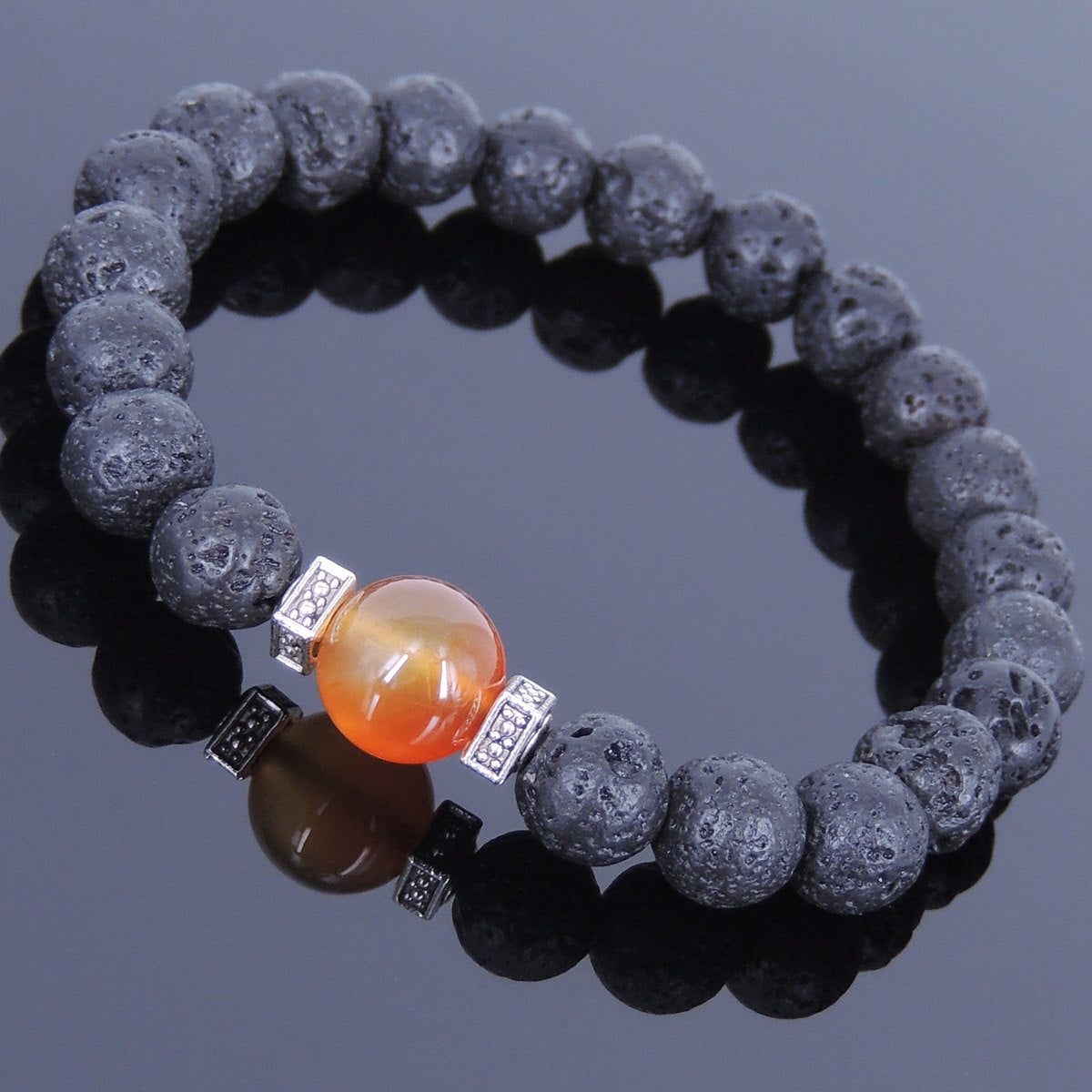 Red Carnelian & Lava Rock Healing Stone Bracelet with Tibetan Silver Square Spacers - Handmade by Gem and Silver TSB013