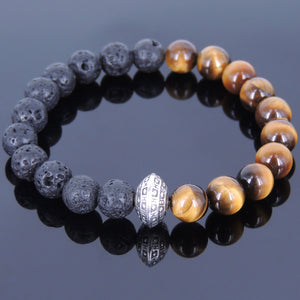 8mm Brown Tiger Eye & Lava Rock Healing Stone Bracelet with Tibetan Silver Protection Bead - Handmade by Gem & Silver TSB035